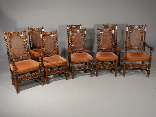 An Exceptional Set of 8 (6+2) Early 20th Century Carolean Design Chairs