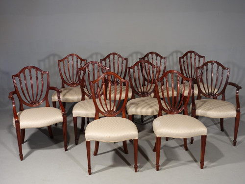 A Fine Quality Set of 10 (8+2) Mahogany Framed Chairs of Hepplewhite Design
