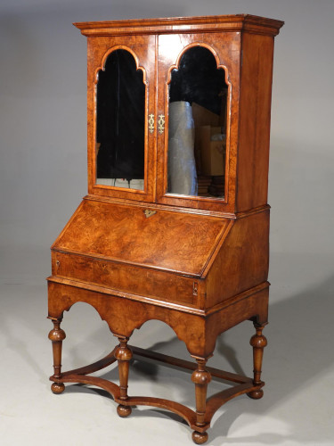 A Fine Quality Early 20th Century  Complex Walnut Bureau of William  and Mary Design