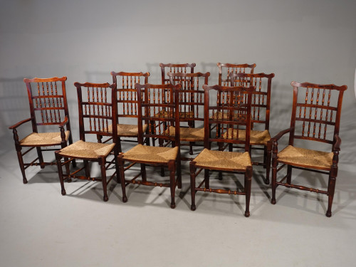 A Rare Set of 10 (8+2) Early 20th Century Ash Spindle Backed Chairs