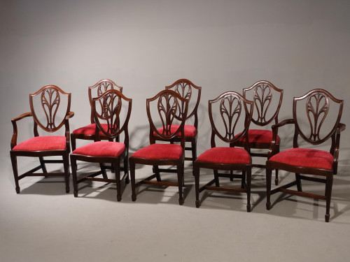 A Well Carved Set of 8 (6+2) Classical Hepplewhite Design Chairs