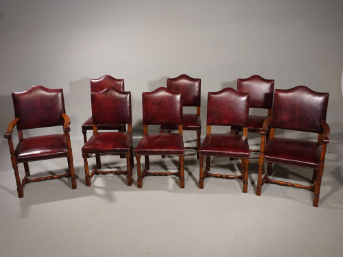 A Sturdy and Well Made Set of 8 (6+2) 17th Century Style Oak Chairs