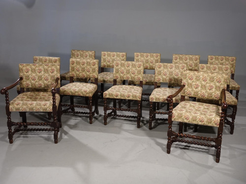 A Well -Made and Sturdy Set of 12 (10+2) English Oak Framed Chairs