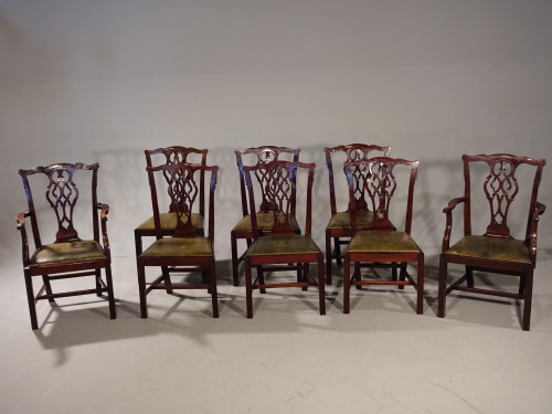 A Good Set of 8 (6+2) Early 20th Century Classical Chippendale Style Mahogany Chairs