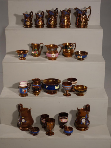 An Attractive Collection of 25 Pieces of 19th Century Copper Lustreware