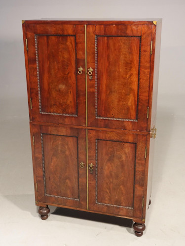 A Very Rare Regency Period Mahogany Two Part Campaign Cabinet
