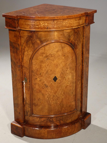 An Extremely Rare Mid 19th Century  Burr Walnut Corner Standing Cupboard