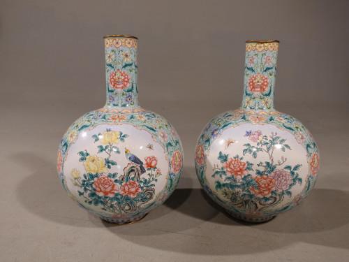 A Massive Pair of Late 19th Century Cantonese Enamel Globular Vases