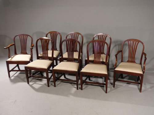 A Good Set of 8 (6+2) George III Period Hooped Backed Dining Chairs