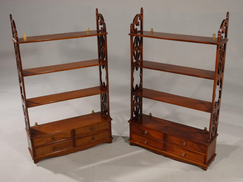 An Exceptional Pair of Mid 20th Century Chippendale Design Hanging Shelves
