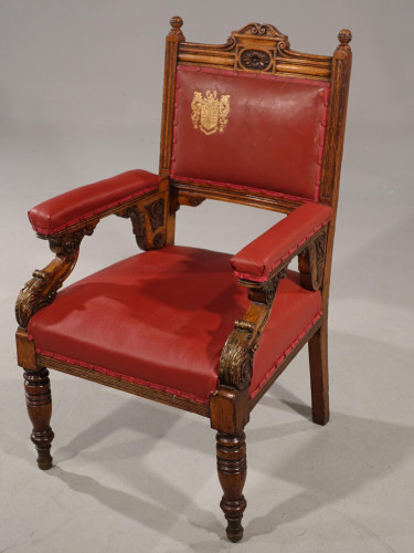 A Finely Carved Late 19th Century Civic Armchair