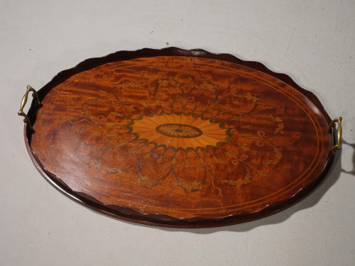 A Beautiful Marquetry Inlaid Late 19th Century Oval Mahogany Tray