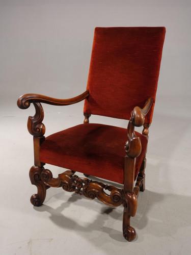 A Very Shapely Early 20th Century Carolean Style Walnut Framed Armchair