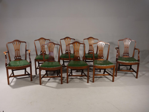 A Good Set of 8 (6+2) Camel Backed Hepplewhite Style Dining Chairs