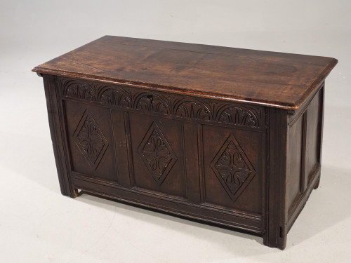 A Well Carved Early 18th Century Three Panelled Coffer
