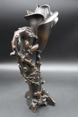 An Early 20th Century Japanese Bronze Vase in the Form of a Lotus
