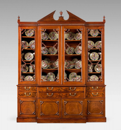 Chippendale Period Mahogany Breakfront Library Bookcase