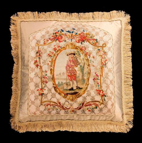 Cushion: Mid-18th Century, Silk. A Gardener Framed with Foliage