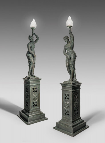 Pair of Late 19th Century Bronzed Young Lady Figures