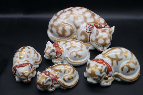 A Charming Family of Five Kutani Porcelain Cats
