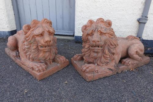 A Mid 19th Century Pair of Ferocious Terracotta Lions