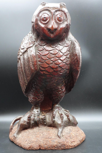 A Very Large Early 20th Century Black Forest Owl