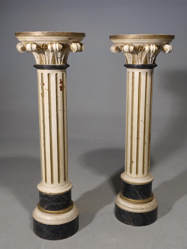 A Pair of Late 19th Century Neoclassical Carved Pine Pillars