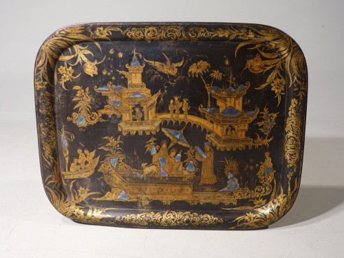 An Original Late Regency Tole Tray with Gilded Chinoiserie Decoration