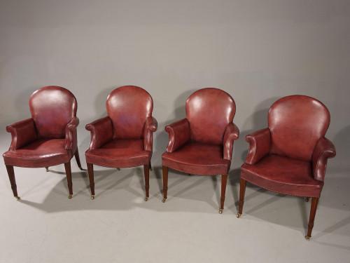 An Elegant Set of 4 Early 20th Century Club or Bridge Chairs
