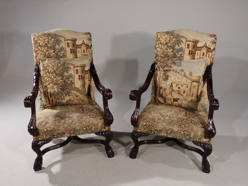 A Large and Finely Carved Pair of Early 20th Century Throne Type Chairs