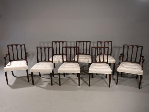 A Handsome Set of 8 (6+2) George III Period Mahogany Framed Chairs