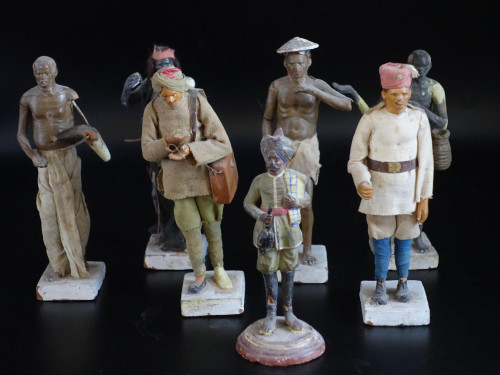 A Most Attractive Set of 6 Mid 19th Century Indian Plaster Figures