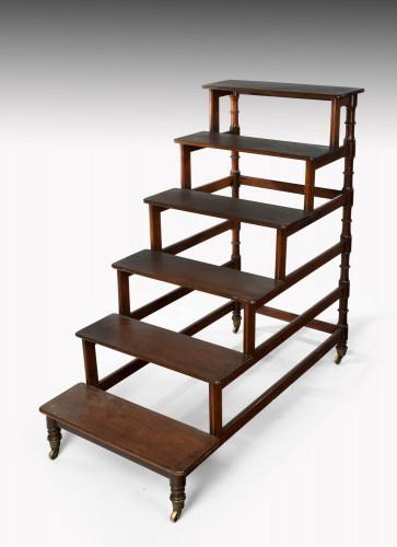 A Set of Regency Period Mahogany Library Steps