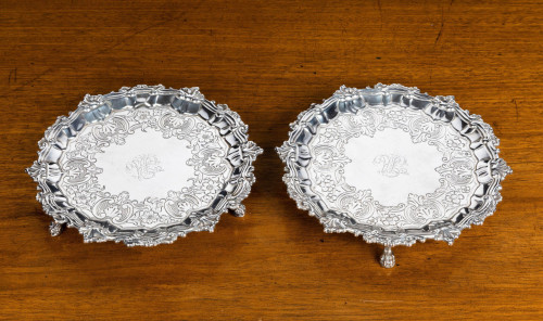Fine Quality Pair of Early 19th Century Silver Card Trays