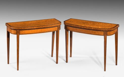 Pair of George III Period Satinwood Card Tables