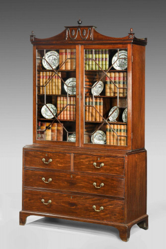 George III Period Mahogany Bookcase on Chest