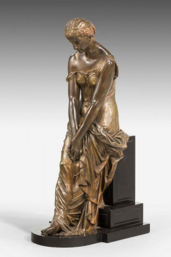 19th Century Seated Maiden on a Stepped Black Marble Base