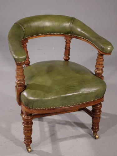 A Very Sturdy Late 19th Century Walnut Framed Horseshoe Desk Chair