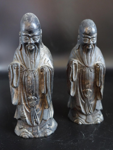 A Pair of Late 18th or Early 19th Century Chinese Tomb Figures of Deities