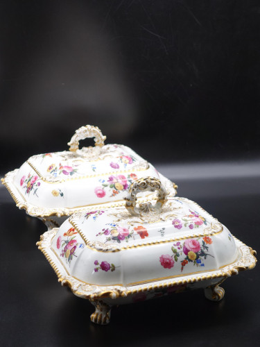 A Rare and Outstanding Pair of English Porcelain Rectangular Section Tureens