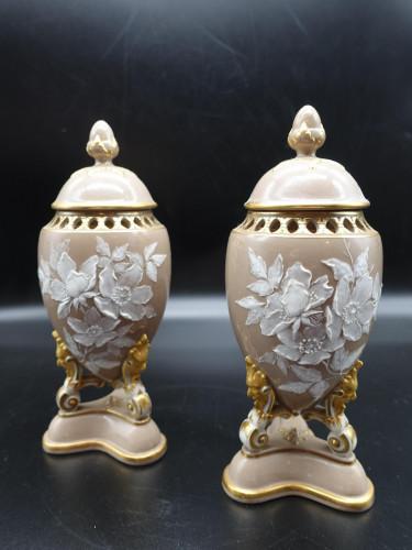 An Attractive Pair of Late 19th Century Pâte-Sur-Pâte Vases