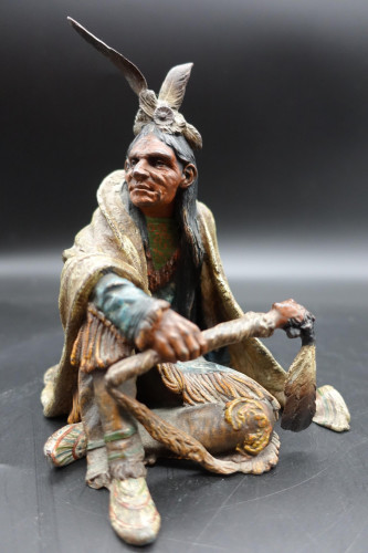 A Beautifully Modelled Early 20th Century Bronze of a Medicine Man by Carl Kauba