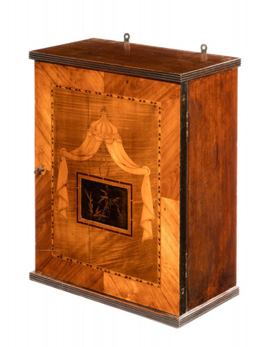 Late 19th Century Wall Hanging Cabinet in Finely Cut Timbers