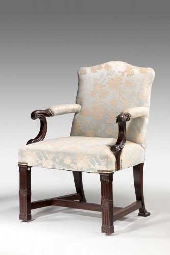 Chippendale Design Mahogany Framed Library Chair