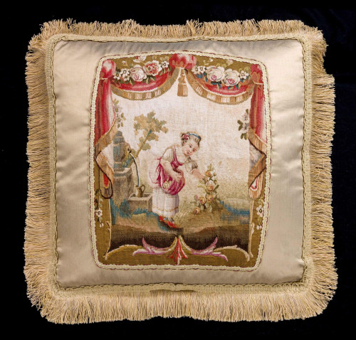 Cushion: Aubusson or Gobelin. A Young Woman Tending Flowers