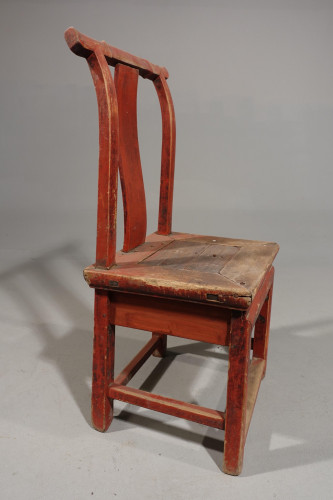 An Early 20th Century Single Elm Chair with a Red Lacquer Finish