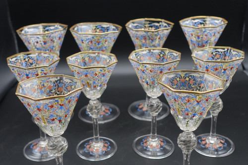 An Extraordinarily Fine Set of 1920's Flared Cocktail Glasses.