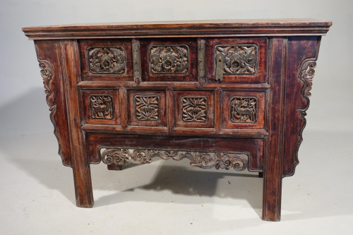 A 19th Century Chinese Alter Table with an Elaborately Carved Facade