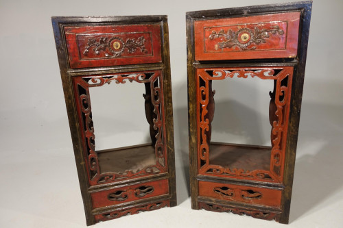 A Quite Rare Pair of Late 19th Century Oriental Tall Stands