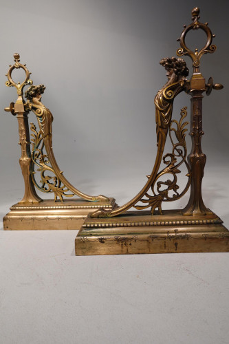 A Quite Exceptional Pair of Mid 19th Century Gilt Bronze Fireplace Fittings